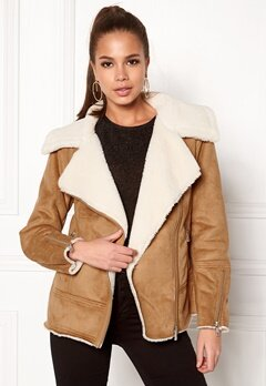 New Look Vally Shearling Biker Tan Bubbleroom.eu