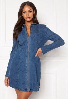 Noisy May Lisa Denim Zip Dress Medium Blue Denim Bubbleroom.eu
