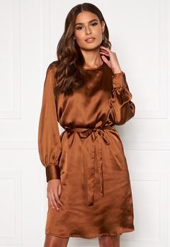 OBJECT Alina L/S Dress Brown Patina Bubbleroom.eu