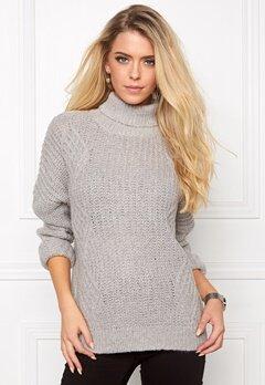 OBJECT Alisja L/S Rollneck Knit Light Grey Melange Bubbleroom.eu