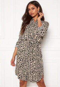 OBJECT Bay L/S Shirt Dress Humus AOP New Animal Bubbleroom.eu