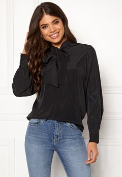 OBJECT Cinna L/S Bow Top Black Bubbleroom.eu