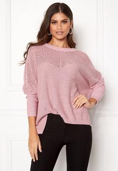 OBJECT Darren L/S Knit Pullover Pink Nectar Bubbleroom.eu