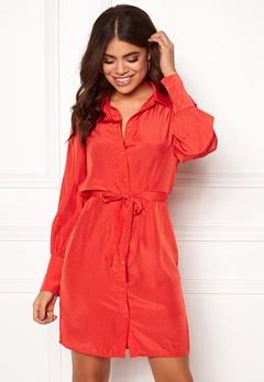 OBJECT Dotteo L/S Shirt Dress Fiery Red Bubbleroom.eu