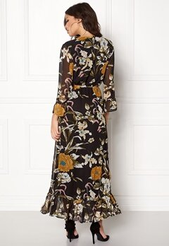 OBJECT Fabrice L/S Long Dress Black/Floral Bubbleroom.eu