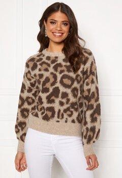 OBJECT Leoana L/S Knit Pullover Humus Pattern:leo Bubbleroom.eu