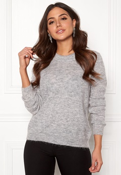 OBJECT Nete L/S Knit O-neck Pullover Light Grey Melange Bubbleroom.eu
