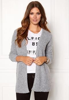 OBJECT Nonsia Rib Knit Cardigan Light Grey Melang Bubbleroom.eu