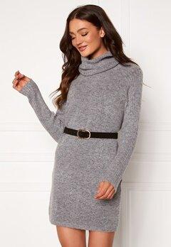 OBJECT Nonsia Rib Rollneck Dress Light Grey Melange Bubbleroom.eu