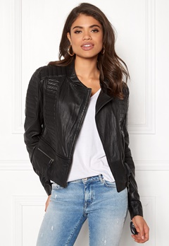 OBJECT Rake Leather Jacket Black Bubbleroom.eu