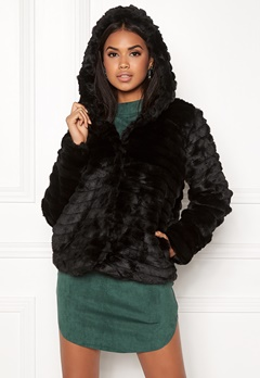 OBJECT Sandie Faux Fur Jacket Black Bubbleroom.eu