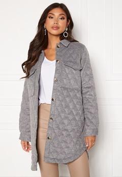 OBJECT Vera owen long quilt jacket Medium Grey Melange Bubbleroom.eu