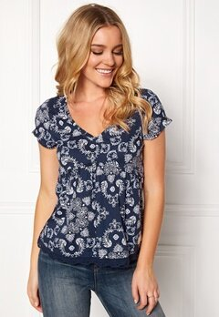 Odd Molly Medley S/S Blouse Dark Blue Bubbleroom.eu