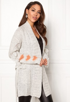 Odd Molly Upbeat Long Cardigan Light Grey Melange Bubbleroom.eu