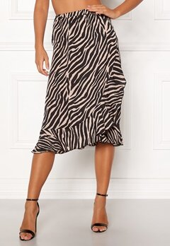 ONLY Ana Wrap Frill Skirt Black/Zebra Bubbleroom.eu