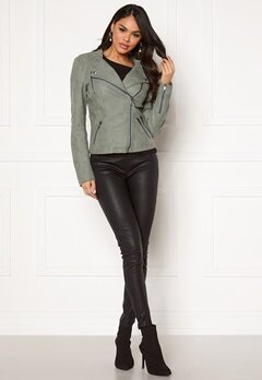 ONLY Ava Faux Leather Biker Chinois Green Bubbleroom.eu