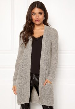 ONLY Bernice L/S Cardigan Knit Light Grey Melange Bubbleroom.eu