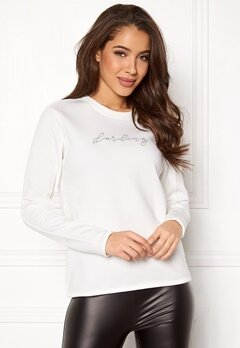 Jacqueline de Yong Brianna L/S Crop Sweat Cloud Dancer Bubbleroom.eu