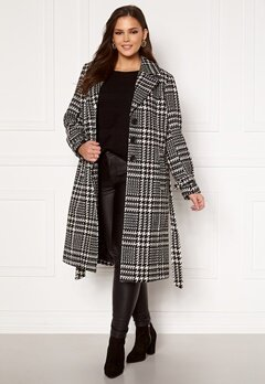 Only Carmakoma Fandanga LS Long Coat Black, AOP Bubbleroom.eu