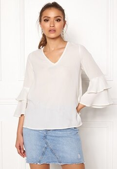ONLY Celina L/S Frill Top Cloud Dancer Bubbleroom.eu