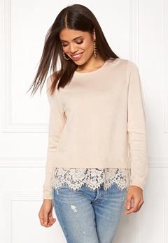 ONLY Cilla L/S Lace Pullover Pumice Stone Bubbleroom.eu