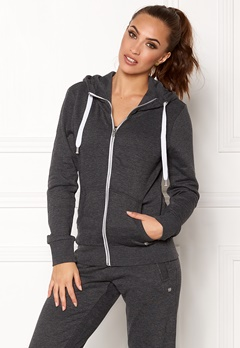 ONLY Coolie LS Zip Hood Dark Grey Melange Bubbleroom.eu