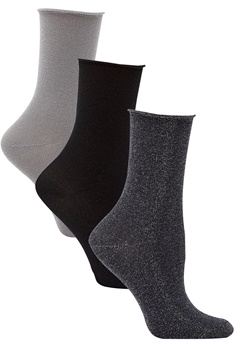 ONLY Darla Socks 3-Pack Metallic Black Bubbleroom.eu