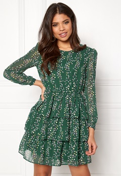 ONLY Ditte L/S Layred Dress Posy Green Bubbleroom.eu