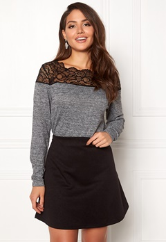 ONLY Elcos Mia L/S Lace Top Dark Grey Melange Bubbleroom.eu