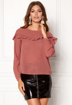 ONLY Elena L/S Ruffle Top Whithered Rose Bubbleroom.eu