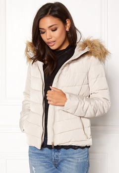 ONLY Ellan quilted Fur Jacket Pumice Stone Bubbleroom.eu