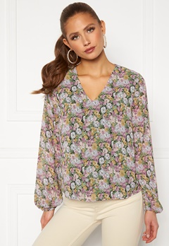 ONLY Ellie L/S V-Neck Top Wvn Black, Pastel Flower Bubbleroom.eu