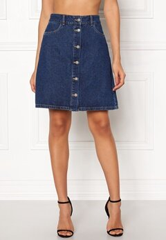ONLY Farrah Reg Denim Skirt Dark Blue Denim Bubbleroom.eu
