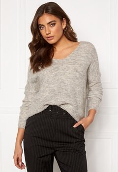 ONLY Hanna Maye L/S V-Neck Light Grey Melange Bubbleroom.eu