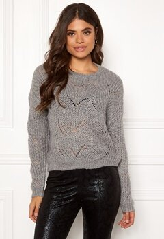 ONLY Havana L/S Pullover Knit Light Grey Melange Bubbleroom.eu