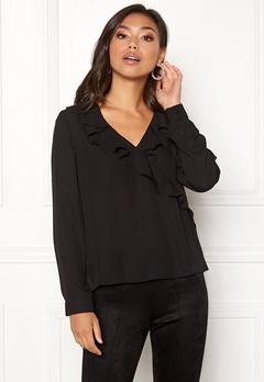 ONLY Intu L/S Frill Wrap Shirt Black Bubbleroom.eu