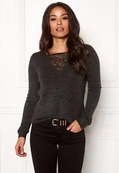 ONLY Miramar L/S Lace Pullover Dark Grey Melange Bubbleroom.eu