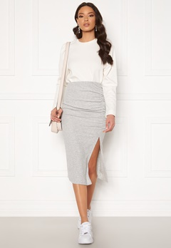 ONLY Nella Slit Skirt Light Grey Melange Bubbleroom.eu