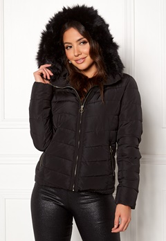 ONLY New Ellan Quilted Jacket Black/Black Fur Bubbleroom.eu