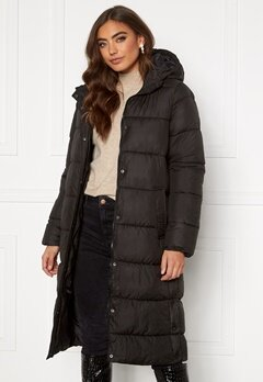 ONLY Newcammie Long Quilted Coat OTW Black Bubbleroom.eu
