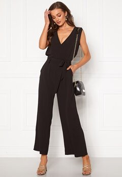 ONLY Nova Lux S/L Wrap Jumpsuit Black Bubbleroom.eu