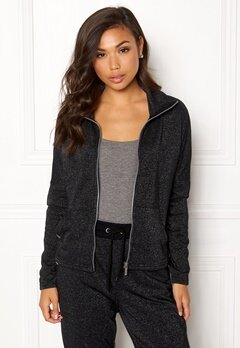 ONLY PLAY Zira Glitter Zip Sweat Black Bubbleroom.eu