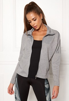 ONLY PLAY Zira Glitter Zip Sweat Medium Grey Melange Bubbleroom.eu