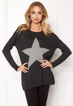 ONLY Reese L/S Pullover Knit Dark Grey Melange Bubbleroom.eu