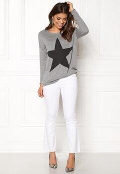 ONLY Reese L/S Pullover Knit Light grey Melange Bubbleroom.eu