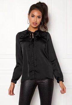ONLY Sila L/S Ruffle Shirt Black Bubbleroom.eu