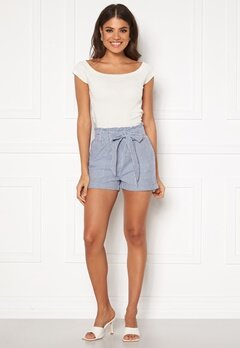 ONLY Smilla Stripe Belt Shorts Medium Blue Denim Bubbleroom.eu