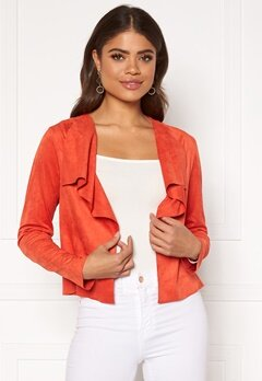 ONLY Stacy Drapy Faux Suede Jacket Spicy Orange Bubbleroom.eu