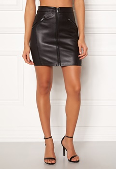 ONLY Violet Faux Leather Skirt Black Bubbleroom.eu