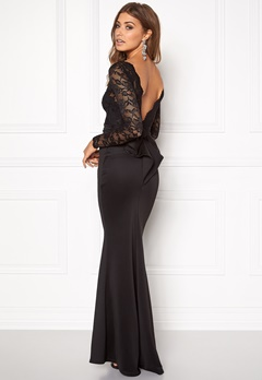 Goddiva Open Back Lace Dress Black Bubbleroom.eu